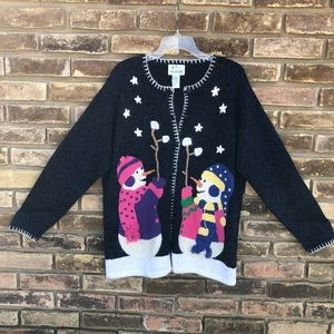 Ugly / cute snowman Christmas sweater cardigan